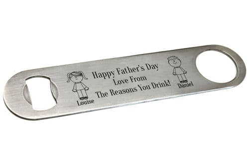 Father's Day Bar Blade Beer Bottle Opener Personalised