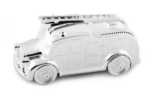 Fire Engine Money Box Silver Plated Personalised