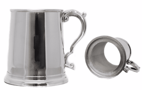 Glass Bottom Stainless Steel Tankard with Swan Handle Personalised