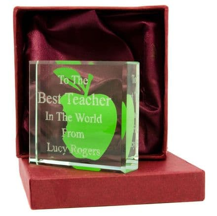 Glass Paperweight Teacher Gift Personalised