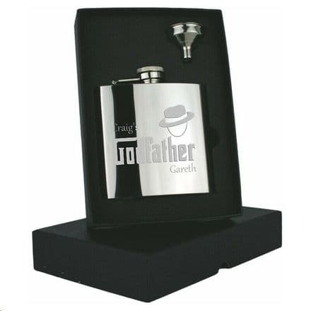 Godfather Design 6oz Stainless Steel Hip flask Personalised