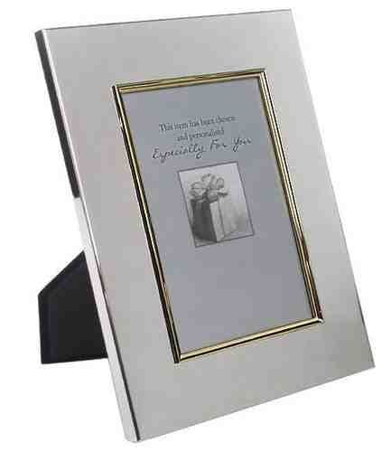 Gold Border Silver Photo Frame Personalised