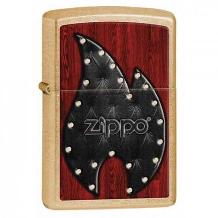 Gold Dust Leather Zippo Flame Zippo Lighter Personalised