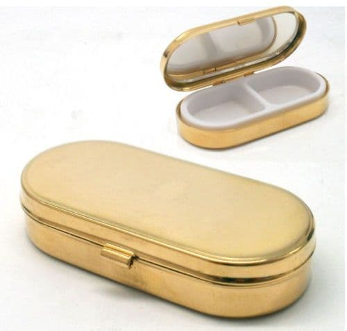 Gold Plated Oblong Pill Box with Mirror Personalised