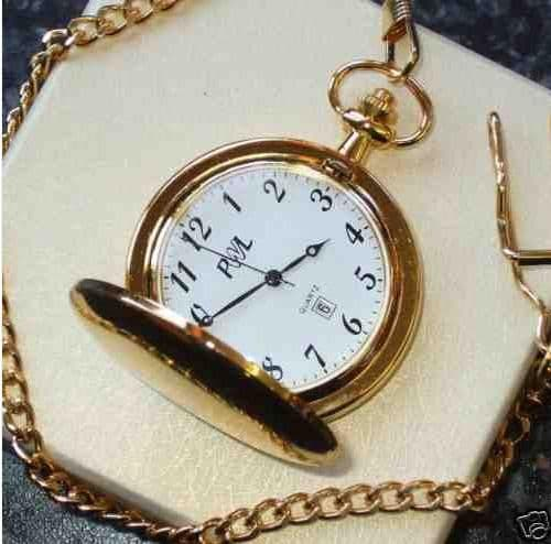 Gold Plated Pocket Watch with Date and Time Personalised
