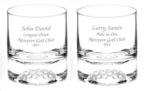 Golf Ball Base Crystal Whisky Glass Personalised