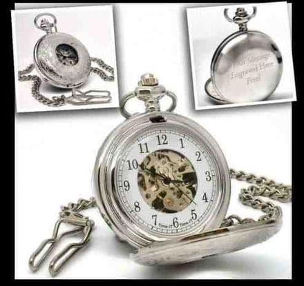 Half Hunter Silver Pocket Watch Personalised