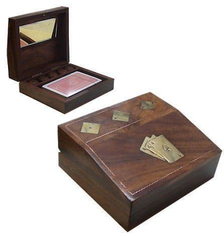 Handmade Brown Wooden Playing Card and Dice Box Personalised