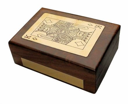 Handmade King Playing Card Wooden Box Personalised