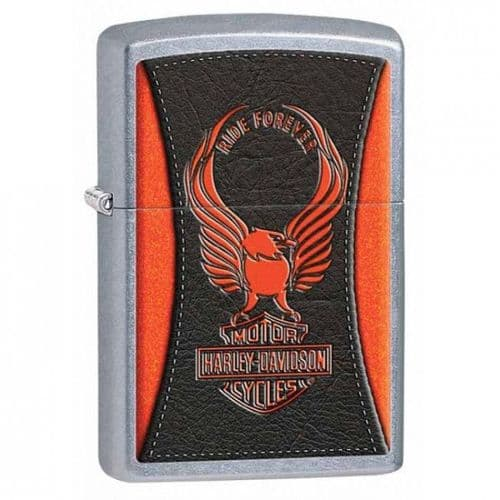 Harley Davidson Leather Effect Zippo Lighter Personalised