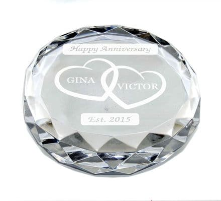 Hearts Anniversary Paperweight Personalised