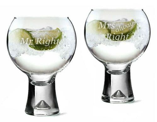 His and Hers Thick Stem Gin Glasses Personalised