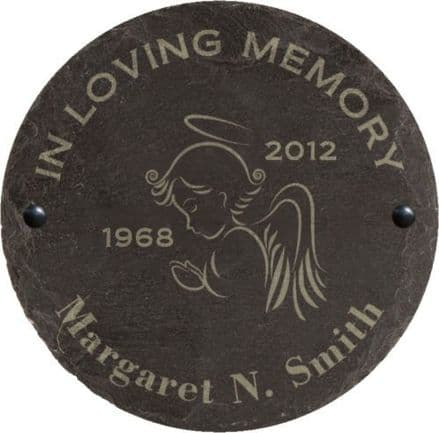 In Loving Memory Slate Memorial Plaque with Angel Personalised