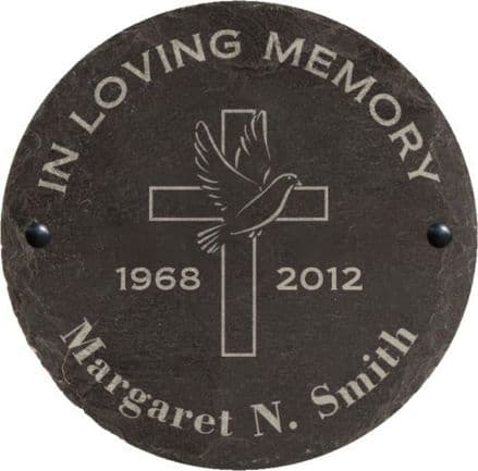 In Loving Memory Slate Memorial Plaque with Cross and Bird Personalised