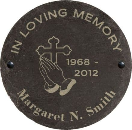In Loving Memory Slate Memorial Plaque with Cross and Hands Personalised