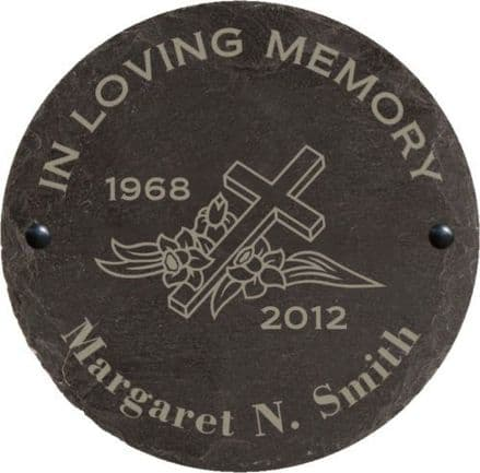 In Loving Memory Slate Memorial Plaque with Cross Personalised