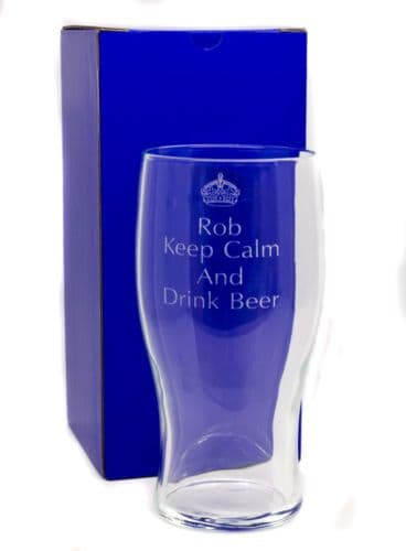Keep Calm and Drink Beer Glass Personalised