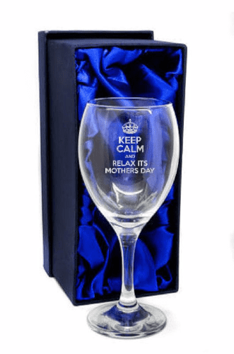 Keep Calm & Relax Its Mothers Day Design Wine Glass Personalised