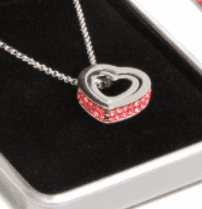 Ladies Double Ruby Crystal Heart Necklace