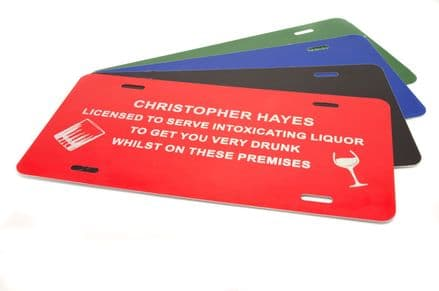 Licensee Aluminium Sign for Home Bars Personalised