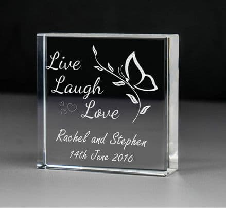 Live, Laugh, Love Glass Block Personalised