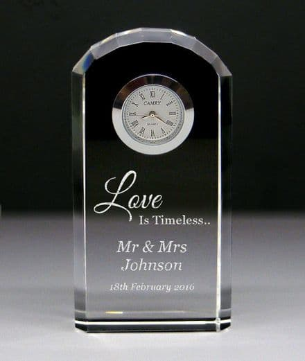 Love Is Timeless, Crystal Glass Mantel Clock Personalised