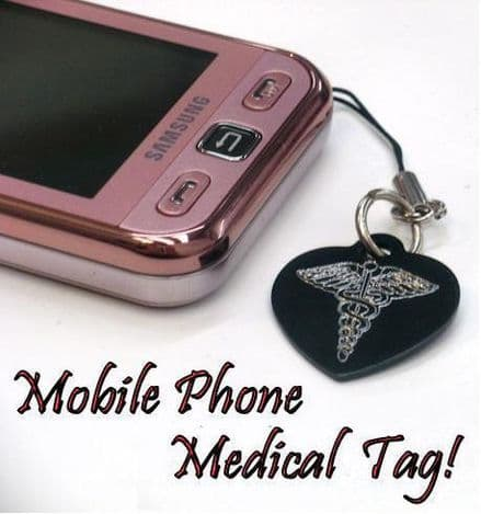 Medical SOS Mobile Phone Charm Personalised