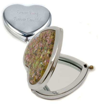 Mother of Pearl Effect Heart Compact Mirror Personalised