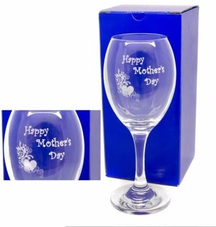 Mother's Day Heart and Flower Design Wine Glass Personalised