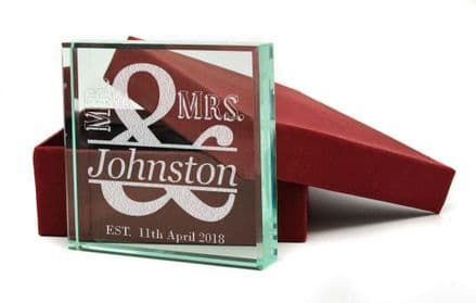 Mr and Mrs Presentation Glass Block Personalised