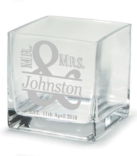Mr and Mrs Square Flower Vase Personalised
