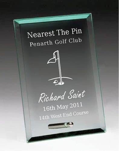 Nearest The Pin Jade Plaque Glass Award and Stand