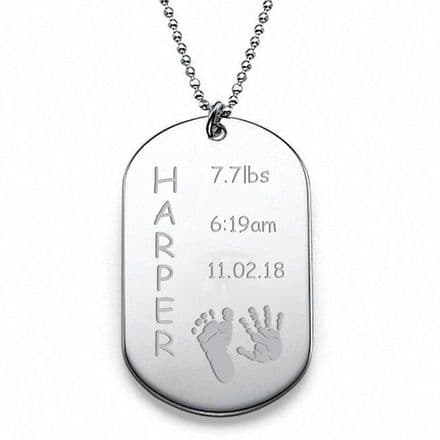 New Baby Stainless Steel Army Tag Personalised