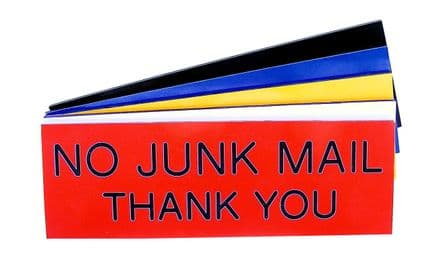 NO JUNK MAIL THANK YOU Sign 150mm x 50mm