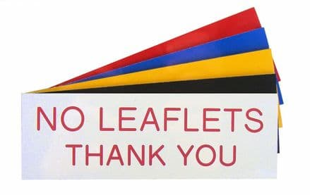 NO LEAFLETS THANK YOU Sign 150mm x 50mm