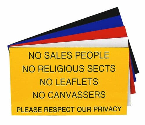 NO SALES PEOPLE NO RELIGIOUS SECTS NO LEAFLETS Sign 125 x 75mm