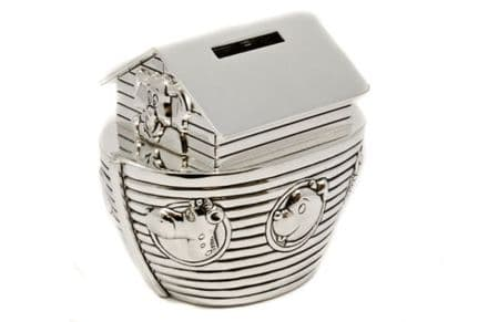 Noah's Ark Money Box Silver Plated Personalised