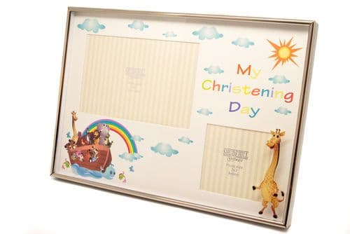 Noahs Ark Christening Day Double Photo Frame Personalised
