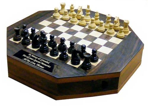 Octagon Rosewood Chess Set Personalised