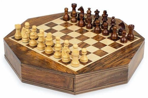 Octagon Wooden Chess Set Personalised
