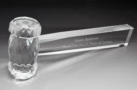 Optic Crystal Glass Gavel Personalised