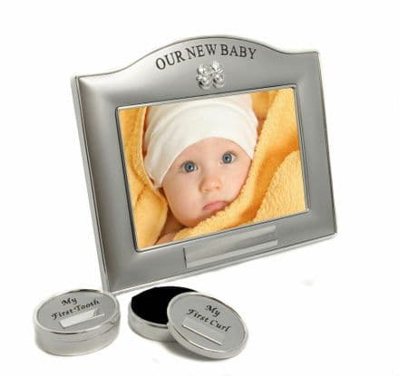 Our New Baby Photo Frame, Tooth & Curl Set Personalised