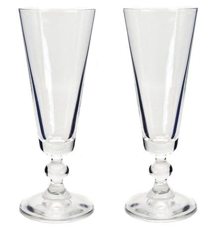 Pair Champagne Flutes Glasses with Ball Stem Personalised