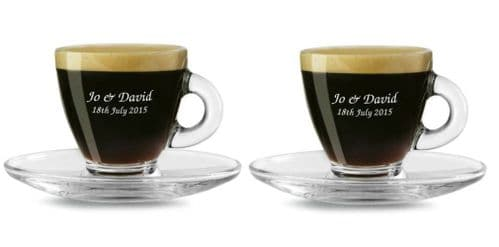 Pair of 80ml Espresso Cup and Saucers  Personalised