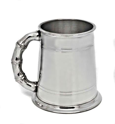 Pewter Double Lined Tankard, Bamboo Handle Personalised