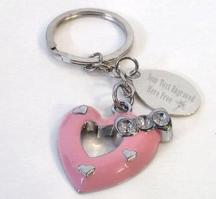 Pink Beating Heart Keyring Personalised