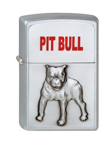 Pitbull 3D Brushed Chrome Zippo Lighter Personalised