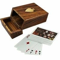 Playing Cards in Wooden Storage Box Personalised   County Engraving