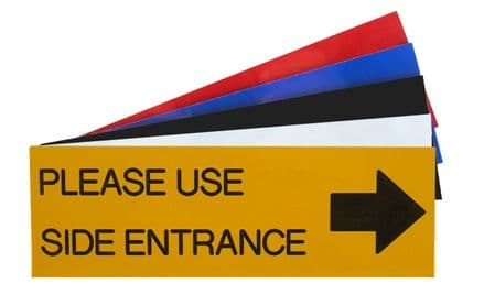 PLEASE USE SIDE ENTRANCE WITH ARROW RIGHT Sign 150mm x 50mm