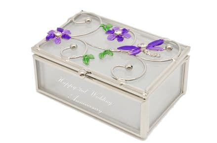Purple Dragonfly And Flower Glass Trinket Box Personalised